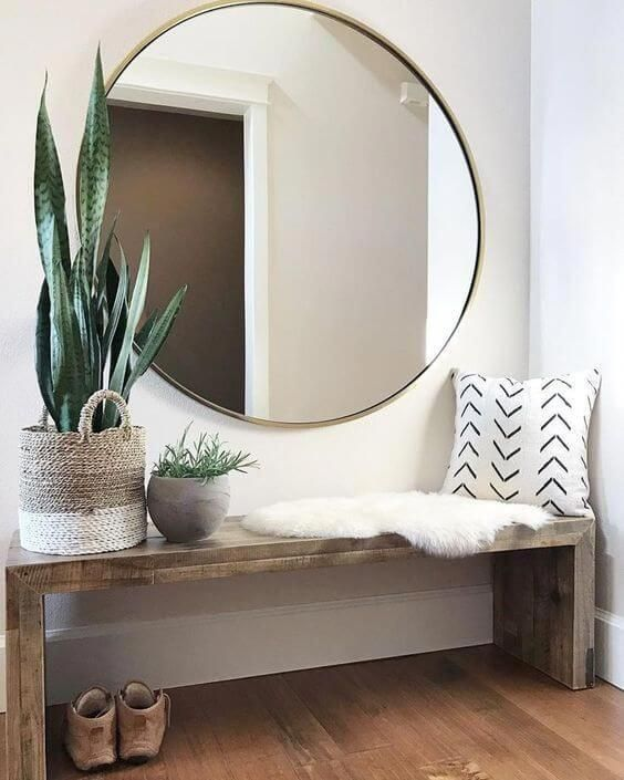 42 Minimal Entryway Decor Ideas with Round Wall Mirror
