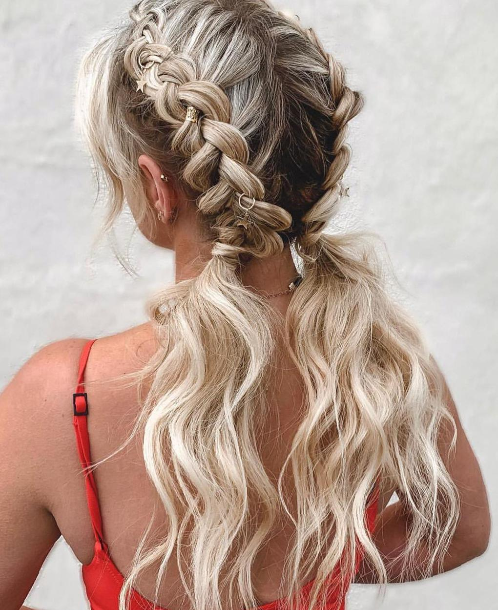 50 Trendy Double Braid Hairstyle Ideas to Keep You Cool double Dutch braids, double braids for long hair, two side braids, french braids, two french braids
